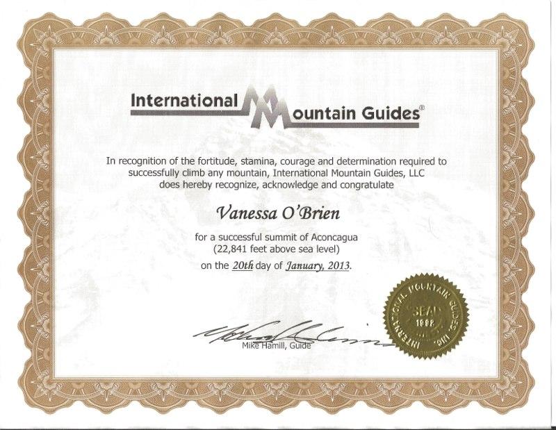 Climbing Certificates - Vanessa O'Brien