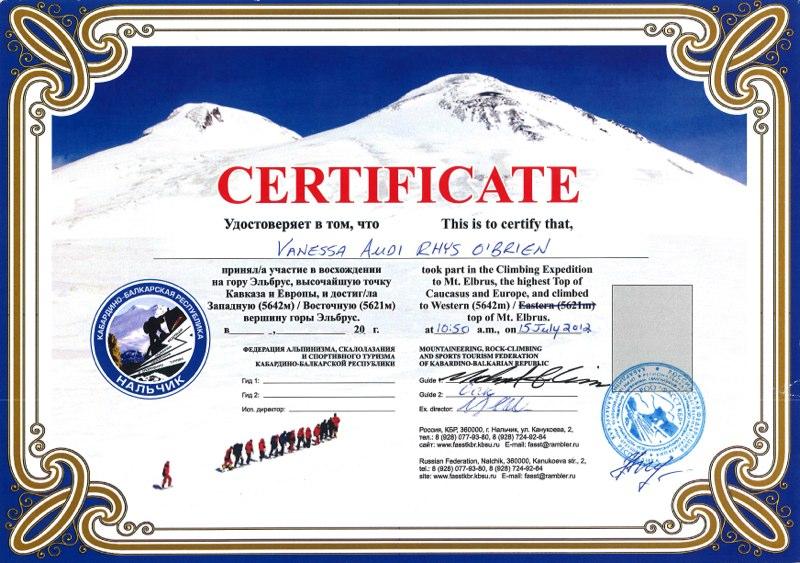climbing certificates